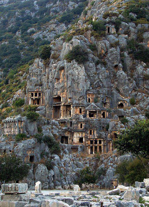 Rock cut tombs in Myra an ancient town in Lycia Turquia